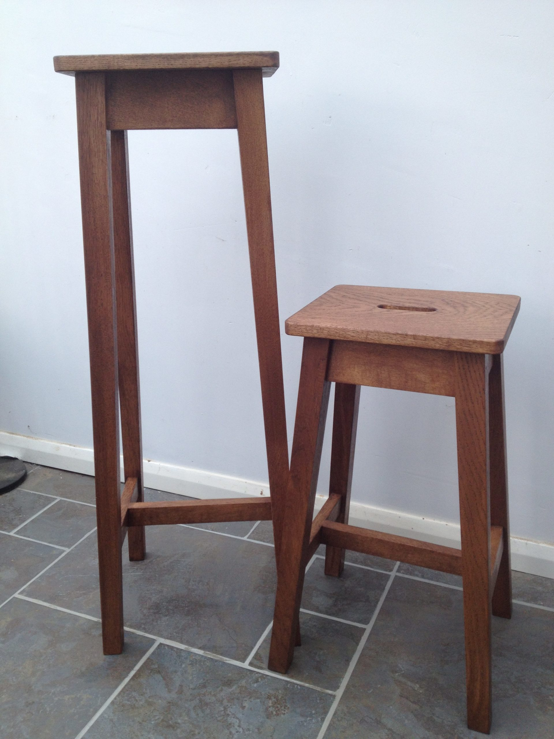 Little 'n large oak stools