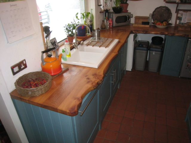 Elm kitchen worktop