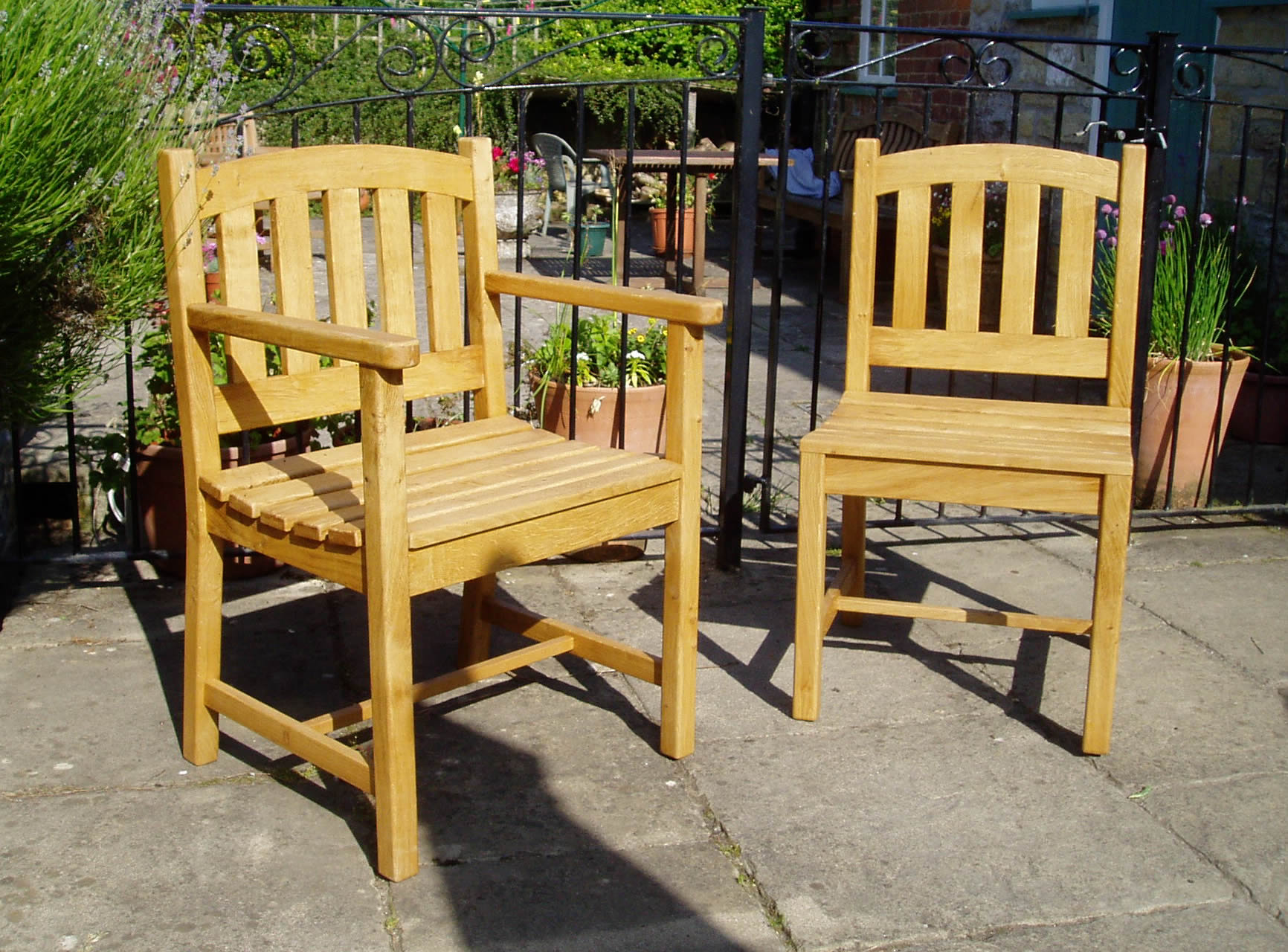 Oak garden chairs
