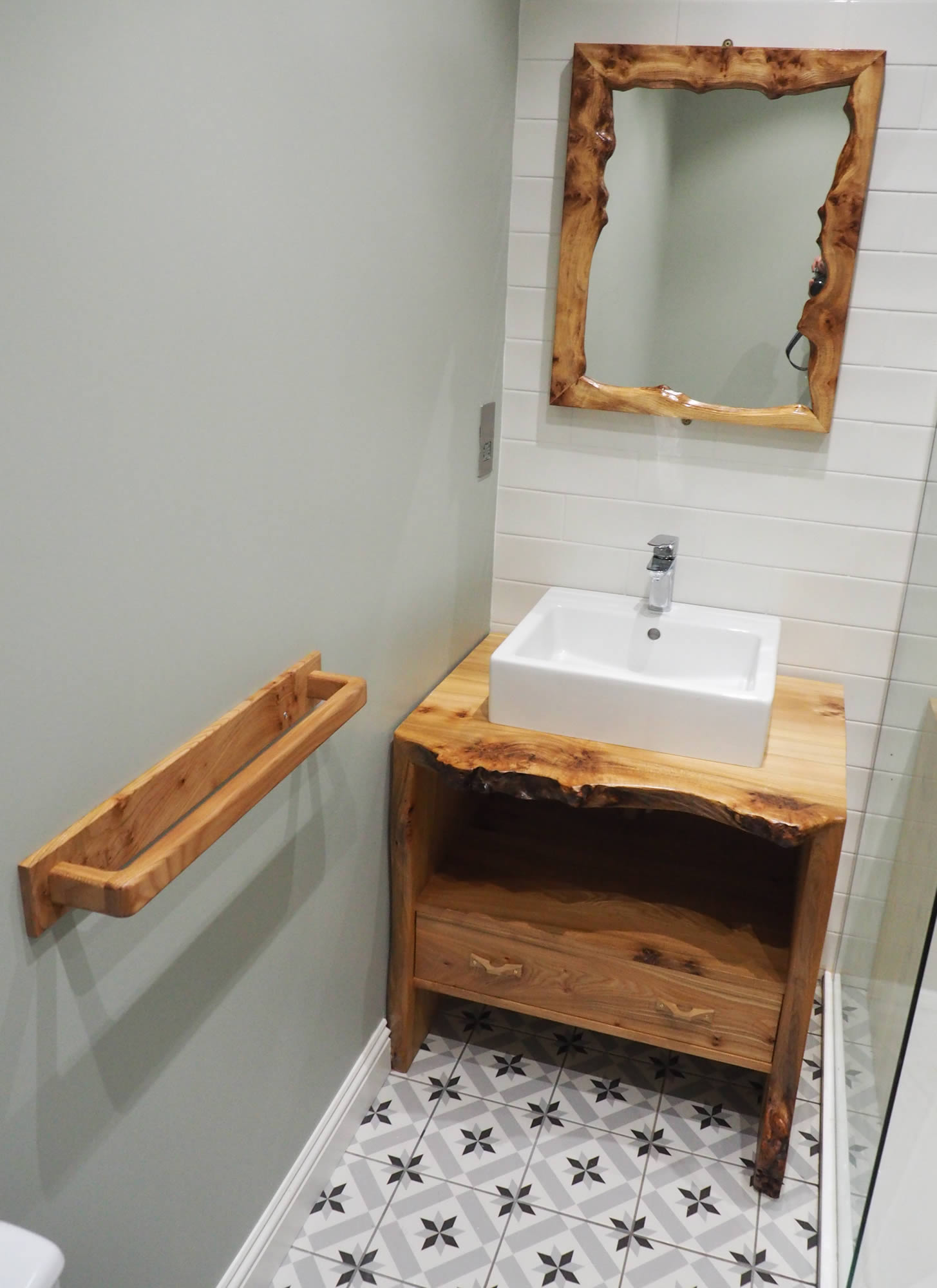 Bathroom cabinet, mirror and towel rail